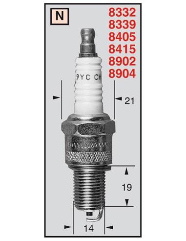 BUJIA COBRE CHAMPION RN2C (BR9ES/BR9EG/BR9ECS/B9ES/B10ES/BR9EVX/R4118S-9)
